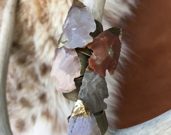 Ready to Ship- Agate Arrowhead Stone Adjustable Ring/ Arrowhead Ring/ Statment Ring/ Natural Gem Stone/ Geode Jewelry/ Boho Wedding/