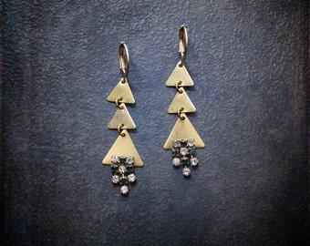 Boho Geometric Earrings Raw Brass Triangle Vintage Sapphire Rhinestone Edgy Industrial Gypset Dangle Blue Festival Modern Assemblage Retro