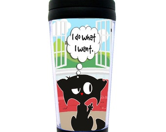 """Funny Travel Mug """"I Do What I Want"""" BAD KITTY Middle Finger Cat ~ Insulated, Thermal & Fun"""