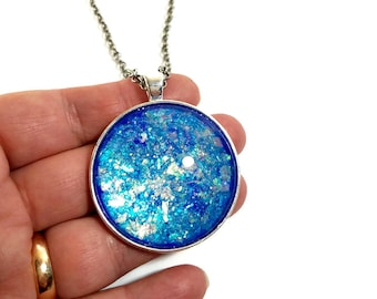 Sparkly Blue Statement Pendant,  Large Round Necklace, Blue Glitter Necklace, Nail Polish Jewelry, Gift for Her