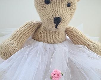 Tutu Knitted Bear Soft Plushie Toy by Bobka Baby