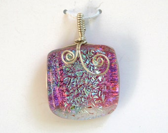 Mauve Aqua Dichroic Glass Pendant with Sterling Silver Wire Wrap - Cyberlily