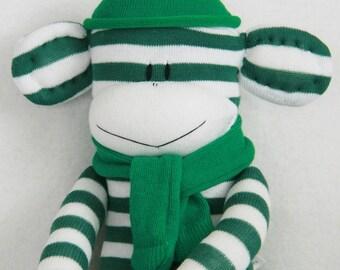 Sock Monkey Doll Darkt Green and White Stripes, Stuffed Animal, Kids