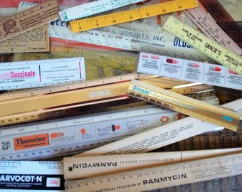 Collection of 19 Vintage Rulers - Advertising Pharmaceutical Etc