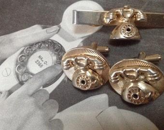 Retro Rotary Mechanical Telephone Cufflinks Tie Clip Set – 1960s Man Jewelry
