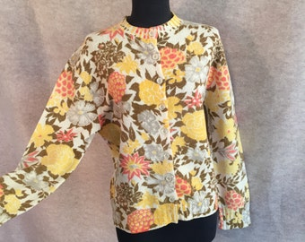 Vintage 60s Cardigan Sweater, Wool Cardigan Sweater, Yellow and Cream Floral Knit, Medium to Large