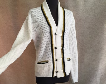 Vintage 60's Cardigan Sweater, Off White, With Black and Green Stripes,  Mens Small or Women's Large, Vegan Friendly
