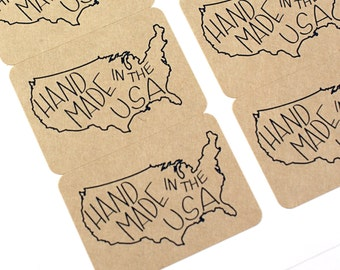 Shop Exclusive - HAND MADE in the USA stickers - United States outline with modern lettering - handmade in the usa