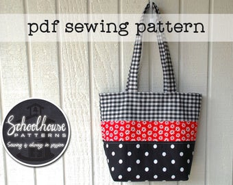 Patchwork Tote Bag handbag purse diaper bag - pdf sewing tutorial pattern -  PDF INSTANT DOWNLOAD