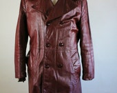 70s Leather Trench Coat. Oxblood /  Long Leather Dress Trench Coat. Zip In Lining. Mens Medium. Vintage. GOGOVINTAGE. FREE SHIPPING