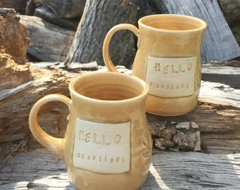 Golden 2 Mug Set-Hello Handsome-Hello Beautiful-Locust Design-Pottery Handmade by Daisy Friesen