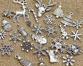 20 pcs Mixed Antique Silver Christmas Charms Pendants Christmas Motif Charms Pendants