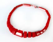 Vintage Red Bakelite Necklace ~ Chunky Red Art Deco Jewelry ~ Vintage Bakelite Jewelry