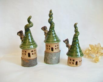 Garden Fairy House, Singles -  Garden Decoration, Speckled Stoneware with Corkscrew Roof + Chimney, Handmade on Potters Wheel, Ready to Ship