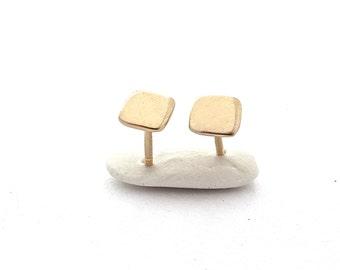Square Stud Earrings, Simple Stud Earrings, Minimal Stud Earrings, Classic Jewelry, Minimalist Earrings, Everyday Earring, Gold Earrings
