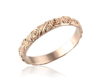 rose gold wedding band unique 14k gold wedding band engraved wedding band vintage - Rose Gold Wedding Rings For Women
