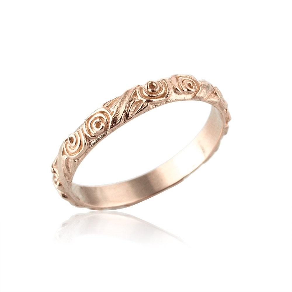 engraved gold ring police wedding rings Rose Gold Wedding Band Unique 14k Gold Wedding Band Engraved Wedding Band Vintage Style Women s Gift Rose Gold Wedding Ring Gold Band