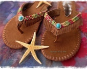 WOODLAND Brown flip flops US size 7-8 Leather Fringe sandals Colorful shoes Bohemian Summer Flower Girl Womens Fashion Festival Shoes GPyoga