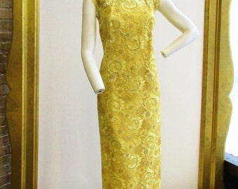 1960's Golden Yellow and Metallic Thread Full Length Dress Size M/L