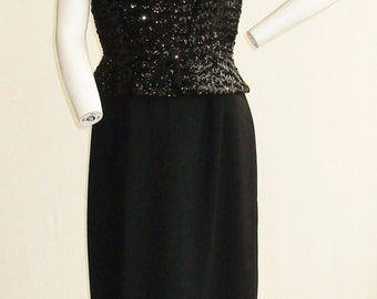 "1960s Black Crepe and Sequin Cocktail Dress 31"" Waist"