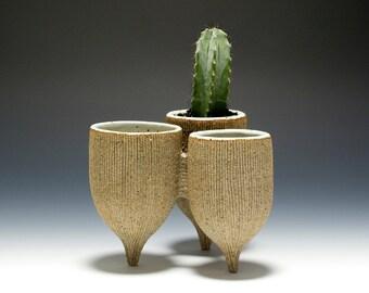 Handmade Stoneware Tripod Cluster Vessel Planter 16-066