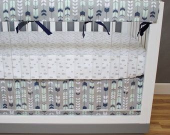 Baby Bedding Feather Arrow, Crib Bedding Boy Forest Nursery Mint and Navy Bumperless Rail Guards, Gray, Woodland, Tribal, Arrows