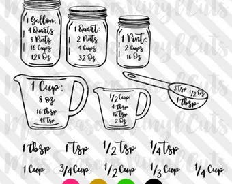 Kitchen Conversion Chart SVG | Measurement Chart SVG | Measuring Cups Svg  Eps Png Dxf | Digital Download | Personal & Commercial Use