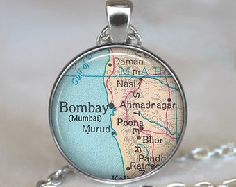Bombay map necklace, Mumbai map pendant map jewellery map jewelry, India necklace Mumbai pendant keychain key chain