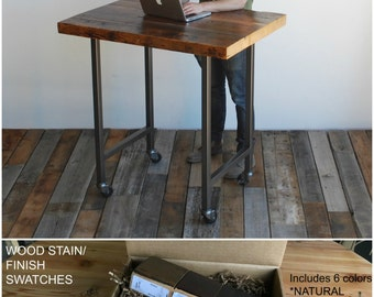 Reclaimed Wood Desk, Barnwood Desk, Lap Top Desk.  Buy a Finish/stain sample kit here.  Custom orders turnaround 4-5 weeks.