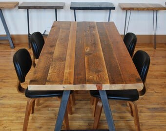 "Urban Industrial 2.5"" thick farmhouse wood table, antique finish in first pic-your choice of leg style, color, size, top thickness/finish"