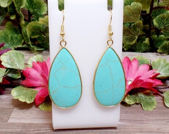 Turquoise Howlite Teardrop Earrings - Gemstone Earrings - Goldtone