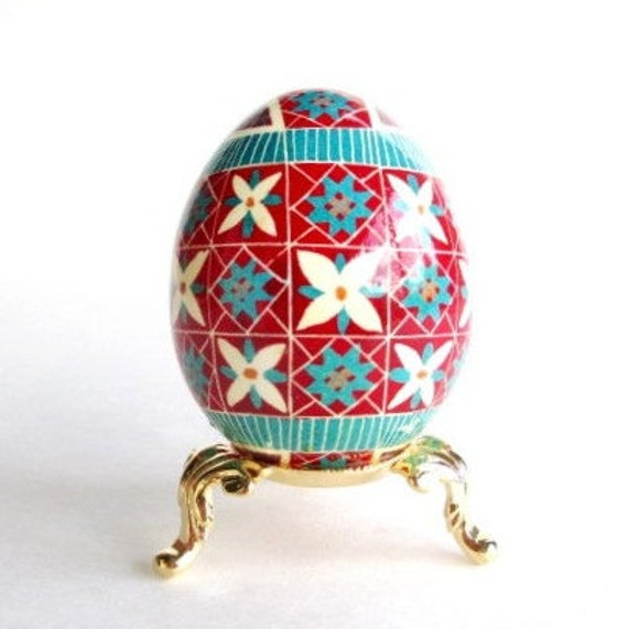 Gift for Mom from daughter Christmas Pysanka ornament Turquoise and Red