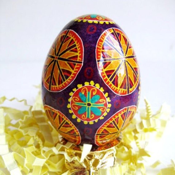 PysankaEaster egg hand painted by Katya Trischuk available with egg holders and holiday gift wrap personalize with name date no extra cost