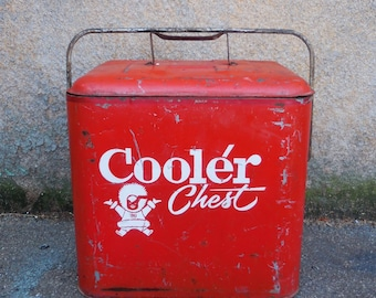Vintage Cooler Chest red metal Eskimo w/ bottle opener side drain 1950's The COOLEST cooler you'll ever own