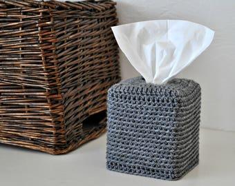 Grey Tissue Box Cover Waffle Weave Design Modern Home Decor