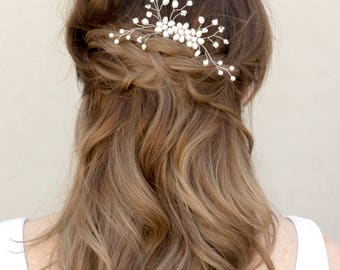 """Bridal Hair Comb, Flower Comb, Wedding Hair Accessories - """"Camille"""" Hand Beaded Flower Hair Comb in Silver or Gold"""