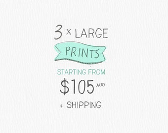 A3 or 11x14 inch - Art Print- 3 Pack - by Honey Cup