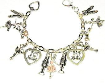 Ballerina Bracelet, Silver Ballet Jewelry, Nutcracker Bracelet, Nutcracker Jewelry, Dance Bracelet, Dance Jewelry, Charm Bracelet,  OOAK #2