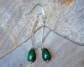 Malachite Earrings, Green Earrings, Dangly Earrings, Natural Stone Earrings, Long Earring, Glass Earrings, Handmade Earrings, Modern Earring