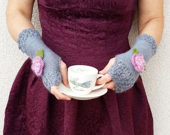 Flowers Fingerless Crochet Gloves Long Arm Warmers Gray Knitted Gloves Winter Wrist Warmers Womens Gift Hand Knit Mittens Gray Roses Gloves