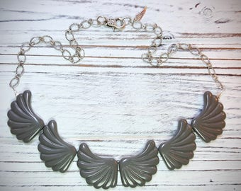 Lucite Wing Necklace - Grey and Antique Silver