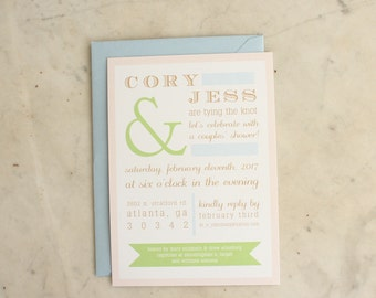 engagement party / wedding shower / couple's shower invitation - ampersand (blush pink, green, light blue and tan))