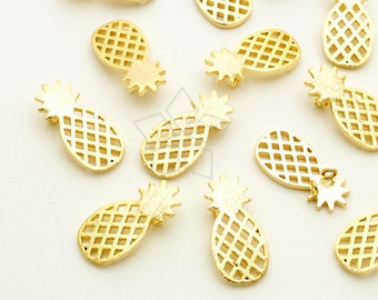 PD-1661-GD / 2 Pcs - Pineapple Sideways Pendant for Necklace, Tropical Fruit Charms, Gold Plated over Brass / 7mm x 14mm
