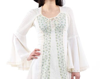 Vintage 70s White Floral Lace Bell Sleeve Mini Dress XS