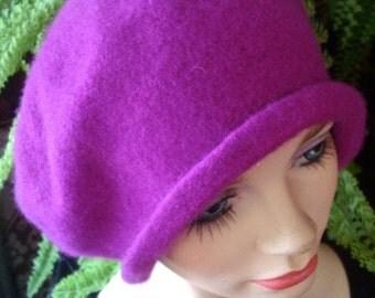 womens hat wool tam beret Magenta tam handmade cloche flapper 1920s oversize beret