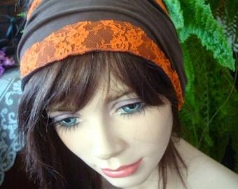 Womens Headband wide chocolate lycra /lace choose one
