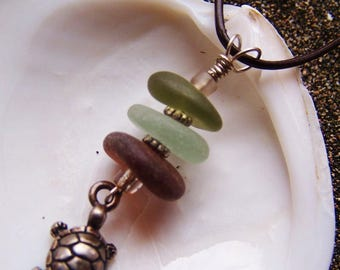 Stacked Sea Glass/Beach Glass Necklace In Earthy Tones of Brown, Seafoam, and Green Sterling Coated Pewter Turtle Charm Accent M 13