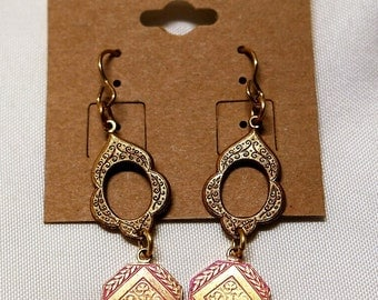 Pink and Gold Vintaj Brass Filigree Geometric Flower and Leaf Earrings