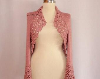 Wedding Bridal Shrug Bolero, Rose Pink Crochet Shrug, Bridal Cover Up, Sweater Cardigan, Knit Bolero, Bolero Jacket,  Knit Wear / SALE