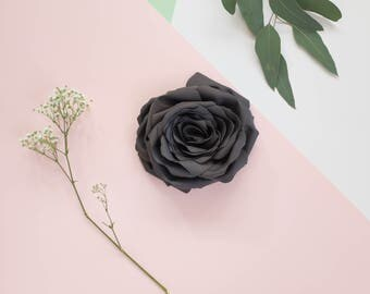 Grey flower brooch, fabric, handmade, gray, graphite